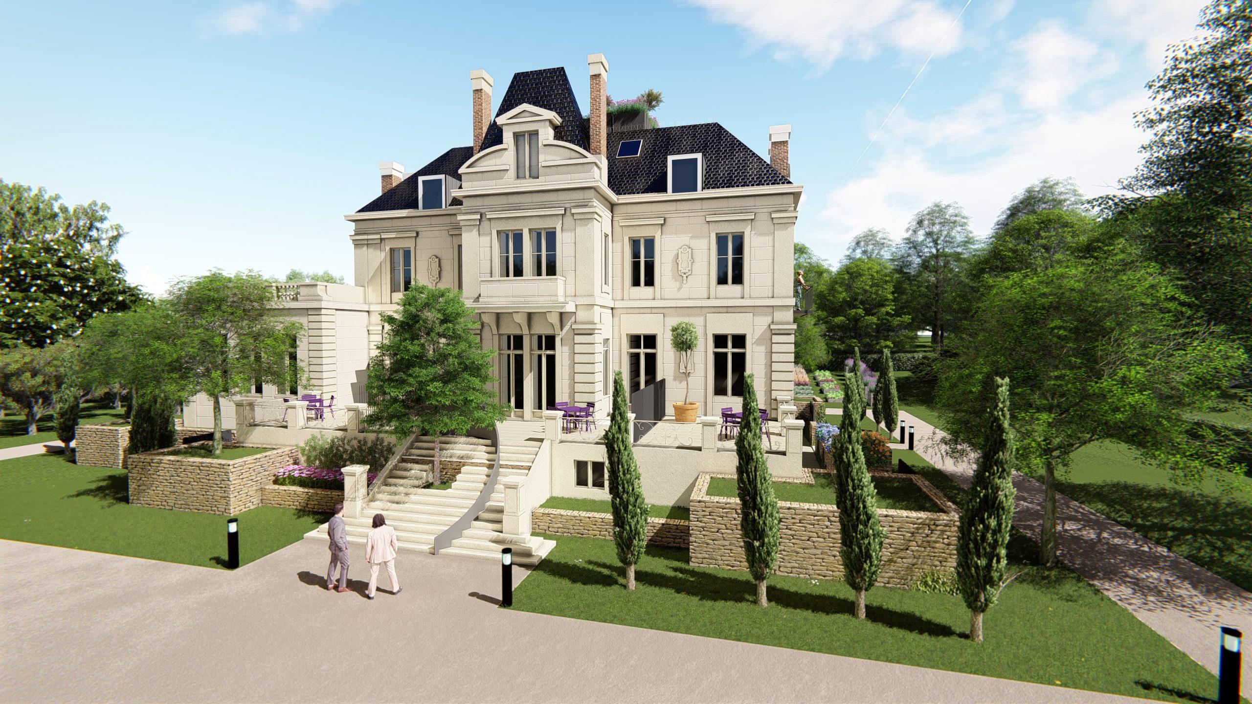 Vue 3D du château de Bagatelle vue de l'entrée