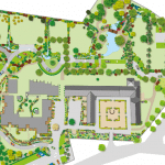Vue 3D, plan de masse du Domaine de la Vicomté avec sa Galerie et son Manoir.