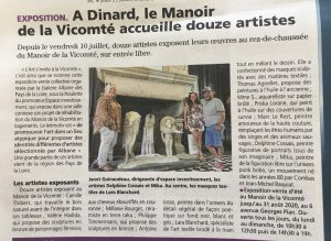 """Article """"Le Pays Malouin"""" : A Dinard, le Manoir de la Vicomté accueille douze artistes"""